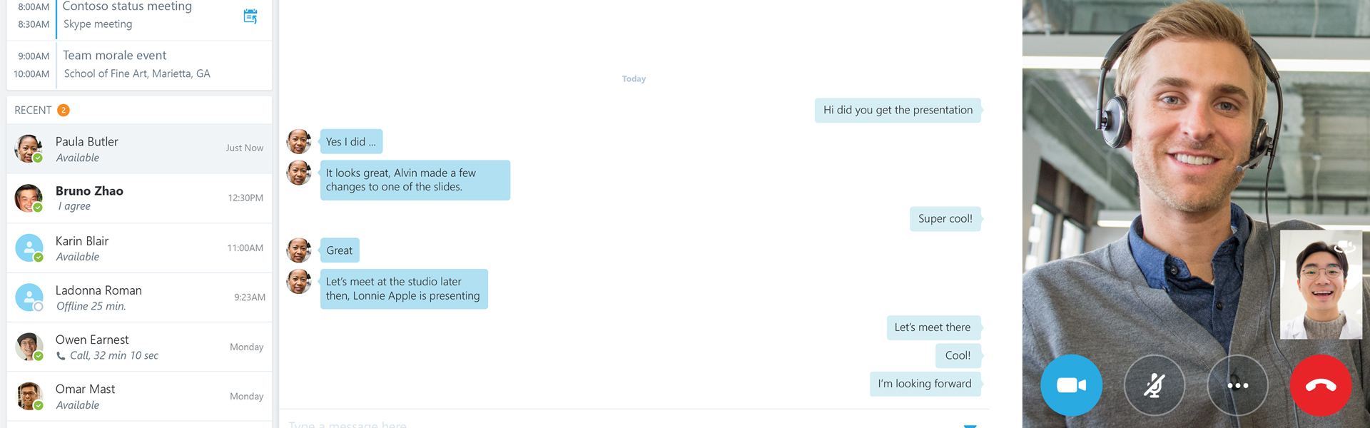 Skype for Business Oberfläche mit angezeigtem Chat und einem Video-Telefongespräch