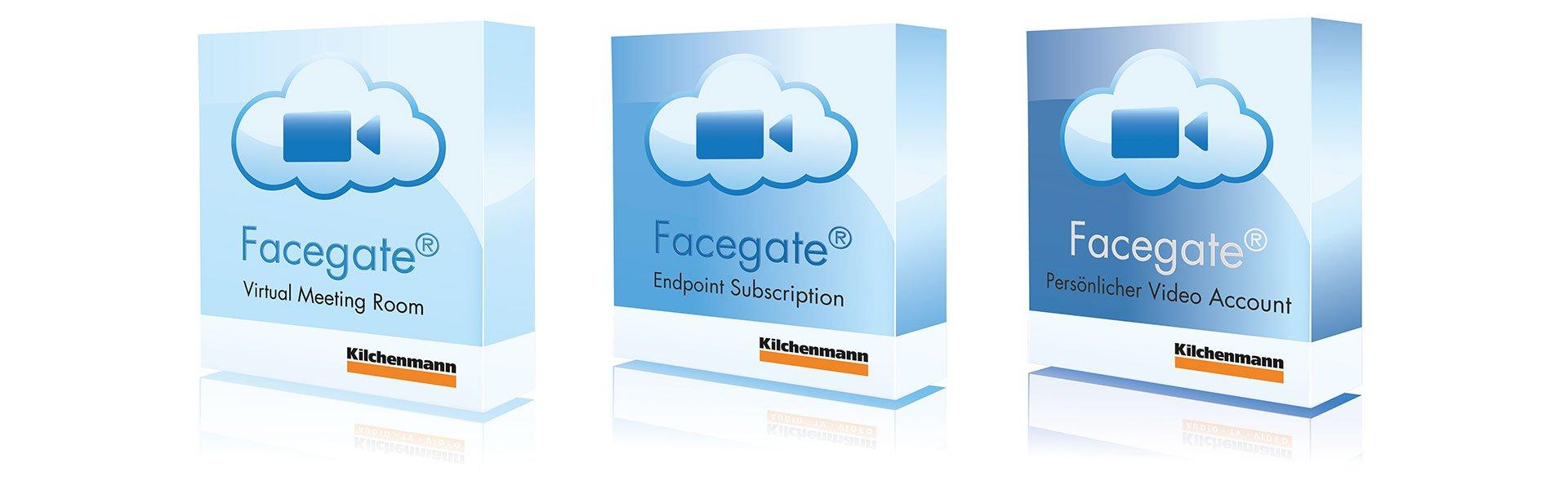 Drei verschiedene Facegate Produktepackete neben einander aufgestellt