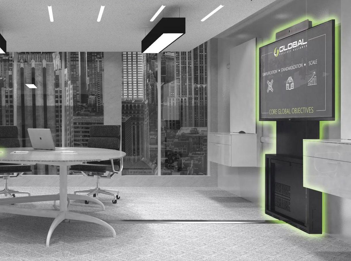 Konferenzraum mit Videokonferenz Einheit neben dem Tisch